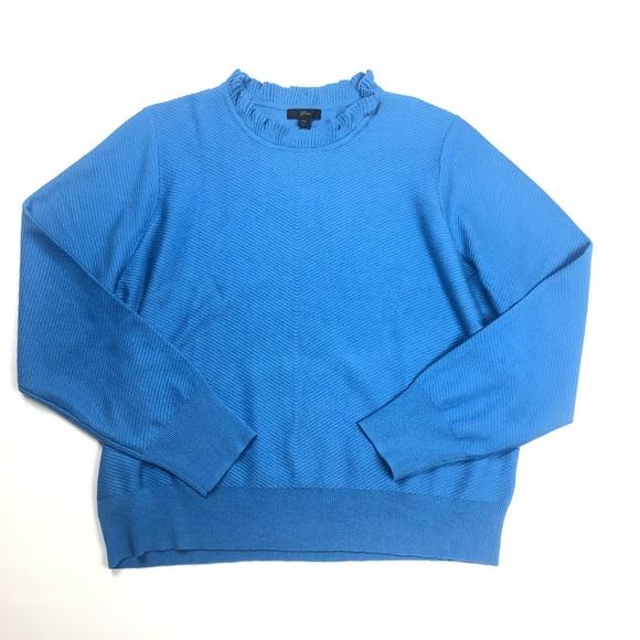 J. Crew Sweaters - J Crew Blue Sweater sz xxl frosty blue ruffle neck